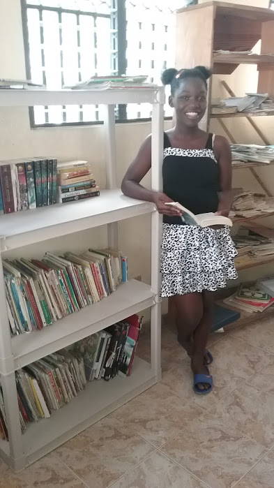 Head Librarian Kentyna with the English books